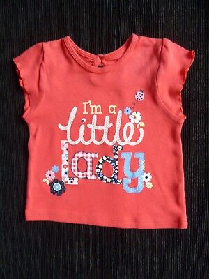 "Baby clothes GIRL 6-9m NEW! red/blu ""little lady"" short sleeve t-shirt SEE SHOP!"