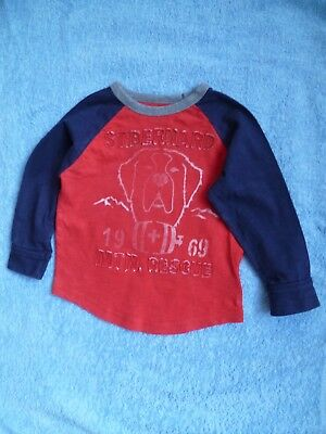 """Kids clothes BOY 2 years NEW! GAP red/navy """"mountain rescue"""" long sleeve t-shirt"""
