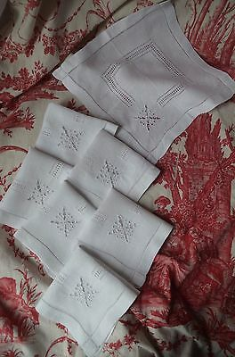 7 antique French butterfly embroidered white work pure linen napkins