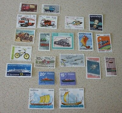 Transport Stamps Non GB x 20 Stamps Craft, Scrapbooking No Duplicates