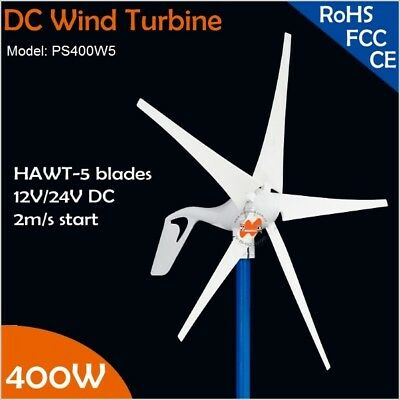 12V or 24VDC 5 Blades 400W Wind Turbine Generator with built-in Rectifier Module