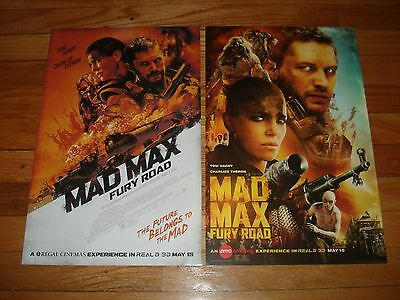 "SET of Posters Mad Max Fury Road 17"" X 11 AMC IMAX REGAL RPX 3D Limited Promo"