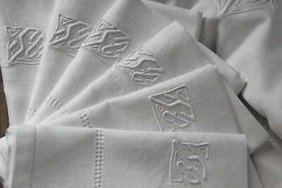 """Antique French pure linen SC monogrammed damask table cloth 115"""", 11 napkins"""