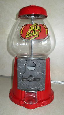Jelly Belly Bean Gumball Machine Glass Metal Candy Dispenser Red Coin Bank 9""