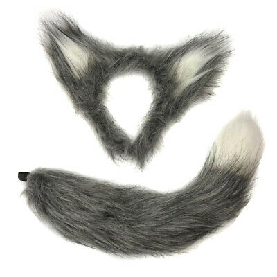 Grey Hairy Wolf Ears on Headband Fluffy Halloween Werewolf Riding Hood