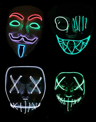 Light Up Multicoloured LED Neon V for Vendetta Mask Halloween Fancy Dress Purge