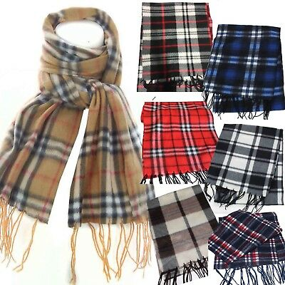 Soft Fleece Check Tartan Vintage Mens Boys Ladies Warm Winter School Scarf Gift