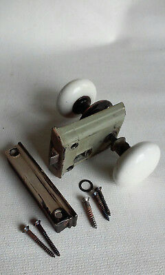 Antique Sargent Cast Iron Rim Lock Set with White Porcelain Door Knobs c/1888