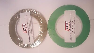 Fine line masking tape 2 rolls 3mm and 6mm x 55m green and Olive premium jtape