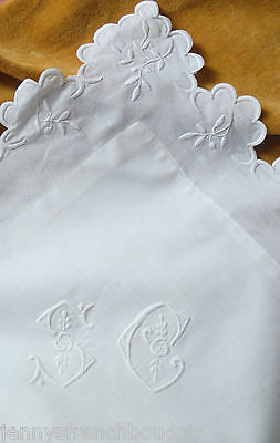 Antique French hand embroidered pillow case, SC monogram, white work edge
