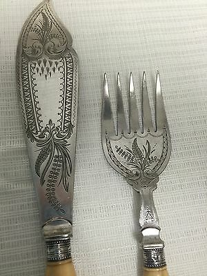 Antique Silver Plate Fish Serving Knife & Fork With Floral Engraving
