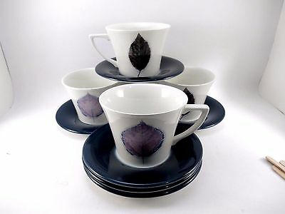 Portmeirion Set of 4 Tea Coffee Cups & Saucers DUSK Jo Gorman VGUC 10 Piece Lot