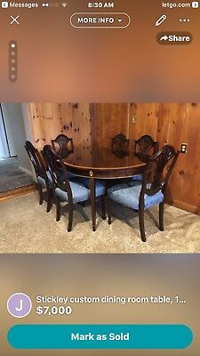 Stickley Hepplewhite Style Mahogany Dining Room Table,10 chairs, Sideboard