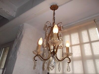 French 3 light chandelier metal crystals glass stunning antique