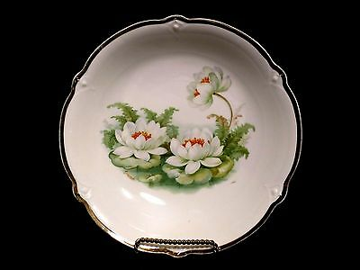"Made in Germany 8 1/2"" Serving Bowl  Lily Pads Signed Vintage Porcelain China"