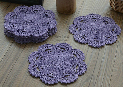 "8"" Round Purple Hand Crochet Doily Coaster Floral Cotton French Country"