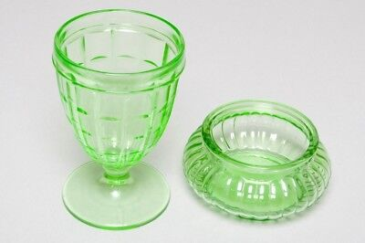 Antique Green Depression Glass Candy Dishes Set of 2, Colonial Block