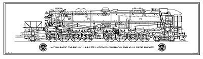"SP Class AC-12 ""Cab-Forward"" 4-8-8-2 Type Locomotive Drawing - Side View"