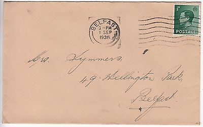 GB & NI: EDVIII Cover; intra-Belfast, 1 September 1936
