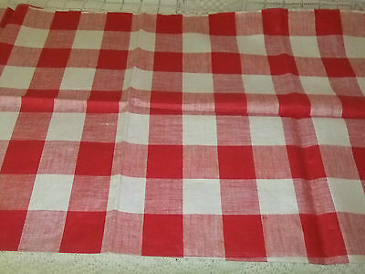 Vintage Fabric Red & White Check Linen 37 1/2 X 36 1/2   #2