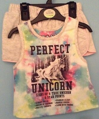 Bnwt M&S Baby Girls Pyjamas, Pjs,  Age 3-4 Years, Shorties, Unicorn