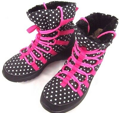 Nike Roshe One Hi Top Girls Youth Sneaker Boots Rubber Nylon Black Pink Size 6 Y