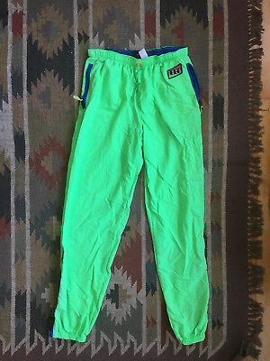 Nike Vintage Aqua Gear Neon Green Windbreaker Pants (80s 90s)