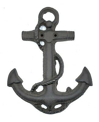 "Cast Iron Boat Ship Anchor Nautical Beach Ocean Rustic Decor Wall Plaque 7.5""H"