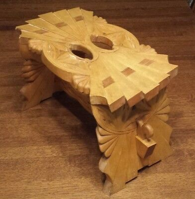 Antique? Vintage Unique OOAK Hand Carved Wood Step Stool