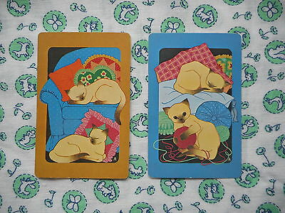 Swap/two/pair of vintage/kitsch/retro 70's game/playing cards - Siamese cats