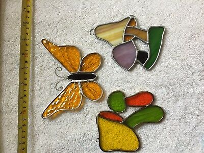 Vintage decorative stained glass hangers Qty 3
