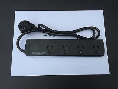 4 Way Outlets Power Point Powerpoint Power Board Powerboard Sockets Switch Black