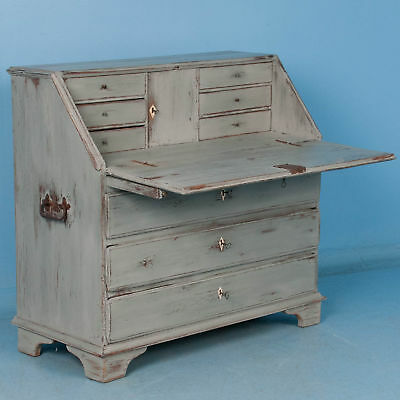 Delightful Antique Drop Front Bureau Desk With Soft Gray Paint