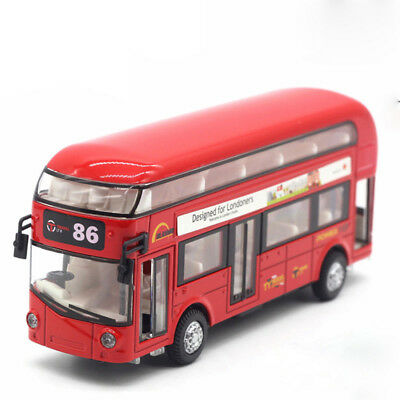 London Bus Double Decker Bus Alloy Diecast Car Model Toy Vehicle Kids Gift Red