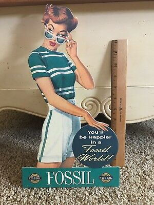Fossil Brand Cardboard Cut Out Stand up Advertising Display Sign