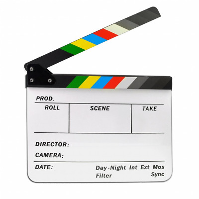 Jmkcoz Acrylic Film Clapboard Dry Erase Director Film Movie Clapper Board Cut Ac