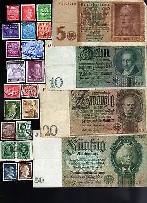 Nazi Banknote, Coin And Stamp Set  # 106