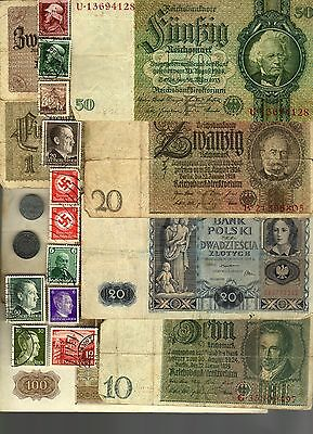 Nazi Germany Banknote, Coin And Stamp Set  # 90