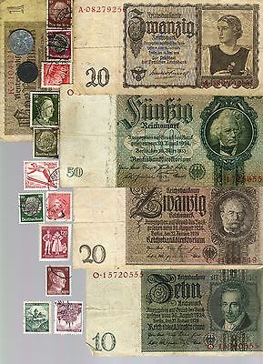 Nazi Banknote, Coin And Stamp Set # 80