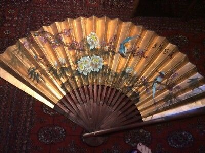 Vintage Folding Fan Bamboo w/ Birds Hand Painted Chinese Large Wall Hanging