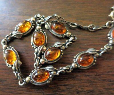 STERLING & AMBER NECKLACE with LEAF CHAIN - 18 INCHES