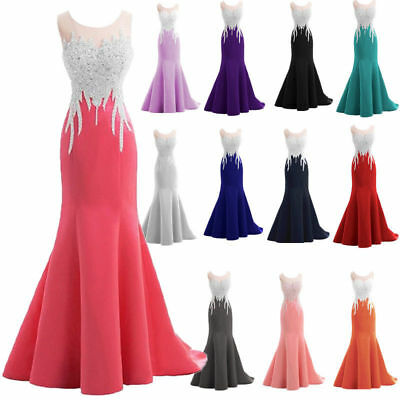 Formal Crystal Mermaid Sexy Sparkly Long Prom Evening Dresses Custom Size 6-22+