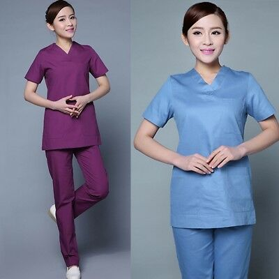 Medical Nurse Women Natural Uniforms Contrast Scallop Scrubs Sets Size Gifts