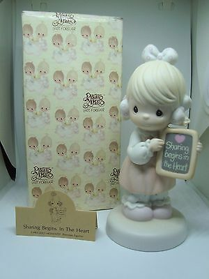 """PRECIOUS MOMENTS Figurine """"SHARING BEGINS IN THE HEART"""" A Must See!"""