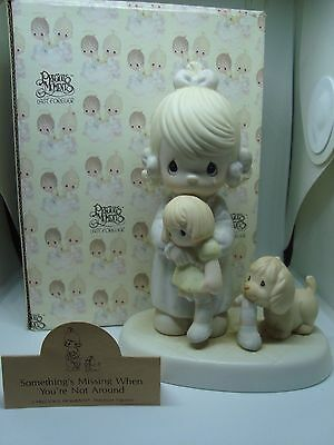 """PRECIOUS MOMENTS Figurine """"SOMETHINGS MISSING WHEN YOU'RE NOT AROUND"""" Look!"""