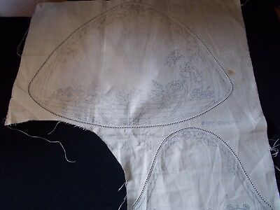 Unworked Stamped Linen~Large & Small Doily~Embroidery~Basket Of Flower~Butterfly