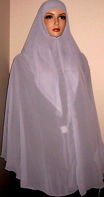 EC gray soft crepe chiffon 2pc khimar set scarf hijab jilbab head cover Islam @@