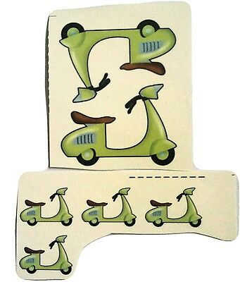 6 Vespa Scooter Waterslide Decals -  Ideal For Crafts and Ceramics
