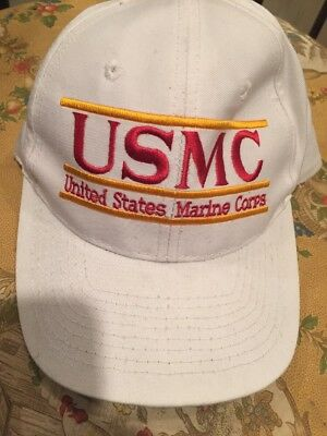 VINTAGE USMC The Game United States Marine Corps Snap Back Hat White Military