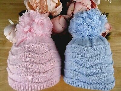 Baby Boy Girl White Blue Pink Double Knit Pom-Pom Pull On Beanie Hat 0-3-6-12-18